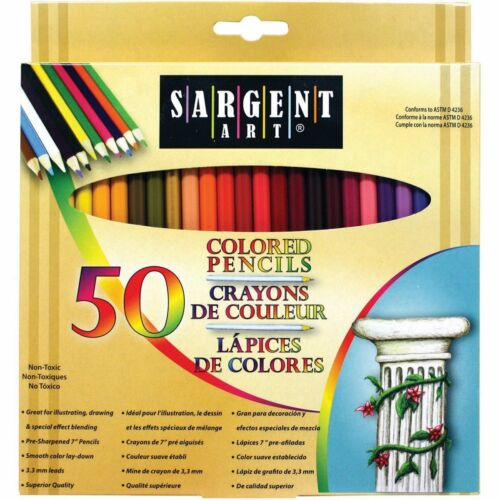 Pack of 50 Assorted Colors Sargent Art Premium Coloring Pencils 22-7251