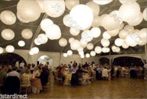 "10""12""14""16""18"" Perfect 60 Set to decorate Wedding W/ White Paper Lantern + Led"