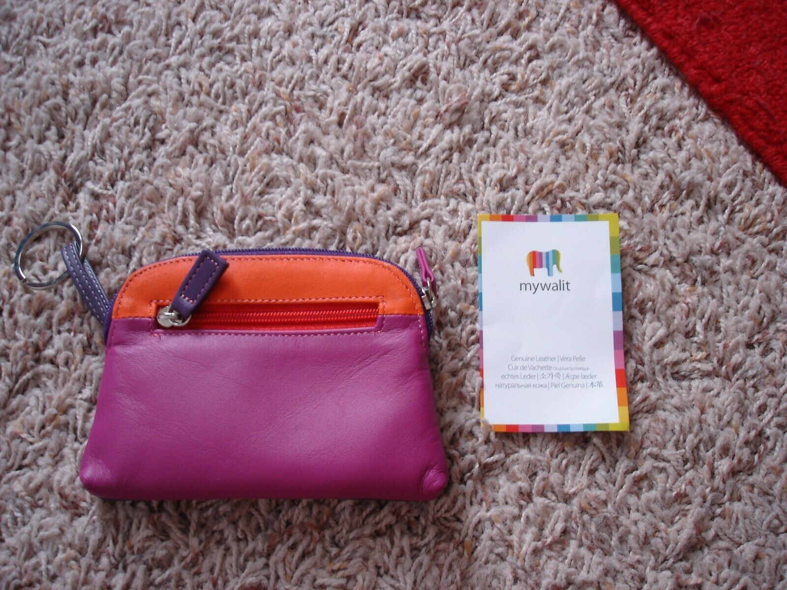 NEW MYWALIT Soft Leather Zip Coin Pouch Wallet Interior Key Ring Purple Orange