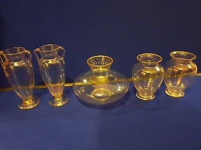 Five Late 19th /early 20th Century Czech Harrach Iridescent Glass Vases Glass