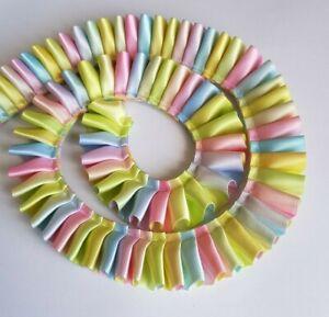 1m-25mm-1-034-Pastel-multi-coloured-rainbow-double-sided-pleated-satin-ribbon