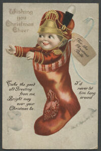 Signed ELLEN CLAPSADDLE CHRISTMAS BELLE Postcard, Soldier Boy in Stocking