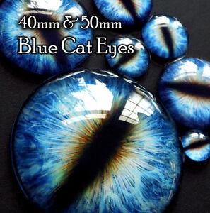 Taxidermy-Glass-Dragon-Cat-Monster-Craft-Eyes-Blue-40mm-50mm