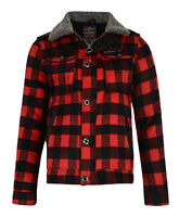Ringspun Men's Padded Sherpa Lined Lumberjack Check Shirt Fort Red Black