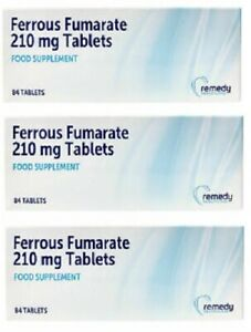Ferrous Fumarate 210mg 3 packs of 84 Tablets (252) Iron Tablets Fersamal