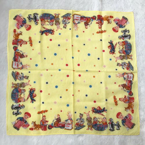 Vintage Handkerchief Yellow Cotton Bandana Toy Dol