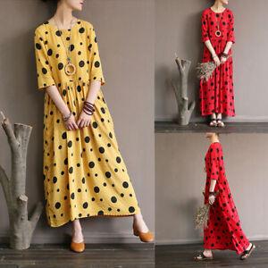ZANZEA-Women-Polka-Dot-Long-Shirt-Dress-1-2-Sleeve-Maxi-Dress-Sundress-Plus-Size