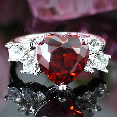 4 Carat Dark Red Heart Ring use Swarovski Crystal SR087