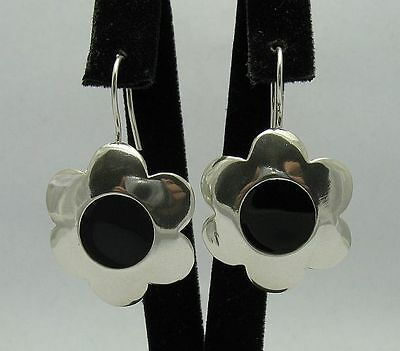STERLING SILVER EARRINGS FLOWER BLACK ENAMEL 925 NEW PERFECT QUALITY E000301