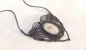 Macrame Necklace Pendant Jewelry Amethyst Cabochon Stone Handmade Bohemian z2