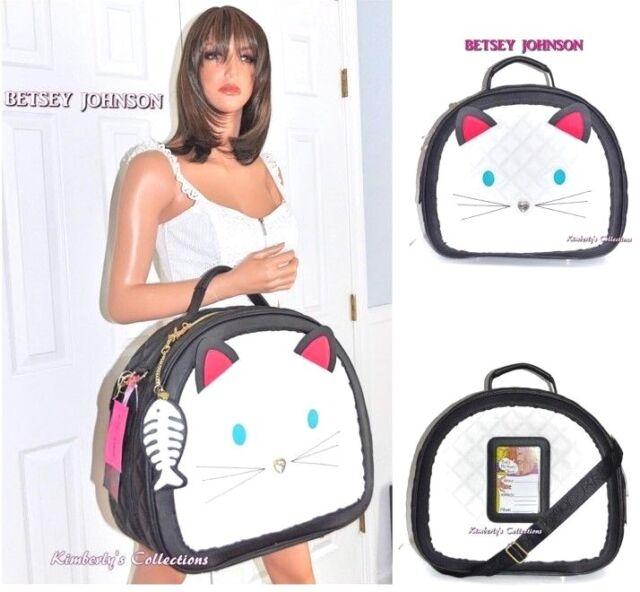 Betsey Johnson Train Case Kitty Cat White Black Weekender Travel Luggage Bag NWT