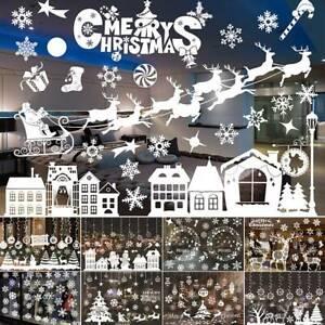 Natale-Xmas-Babbo-Natale-finestra-rimovibile-adesivi-per-Decalcomania-Murale-Muro-Casa-Festa-Decor