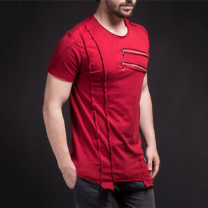 Fashion-Mens-Casual-T-shirts-Slim-Fit-Hip-Hop-Short-Sleeve-Shirt-Splice-Tee-Tops