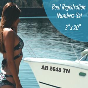 """Boat Registration Number Lettering Decals Vinyl Vessel 3/"""" X 20/"""" Set 15 Colors"""