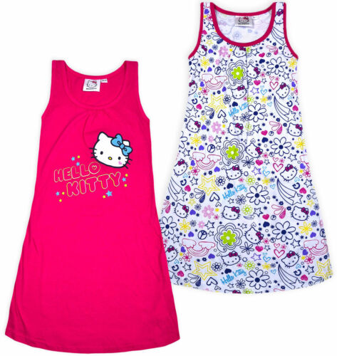Girls New Hello Kitty Dress Kids Party A-line Cotton Pink White Age 4-10 Years