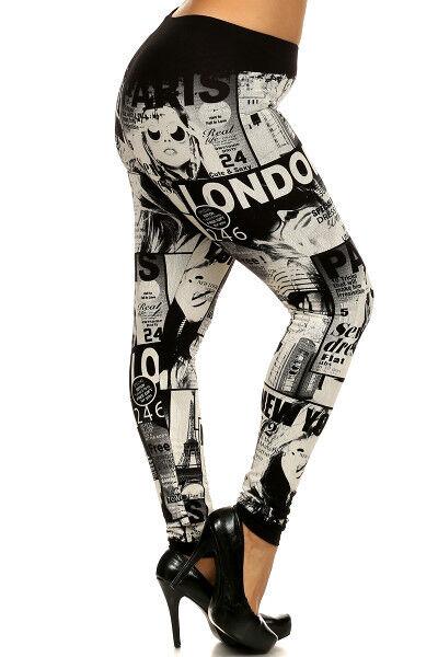 UNIQUE MAGAZINE Black White STREET GIRL COMIC leggings Cotton M L PLUS 1X 2X 3X
