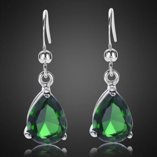 Lady Fashion Jewelry Poire Cut Vert émeraude or blanc GP Dangle Earrings