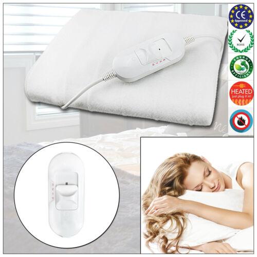 Electric Blanket Heated Washable Fleece Under Luxury Single Double King Size Bed
