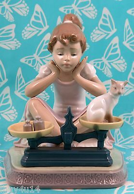 Lladro # 5474 ~ HOW YOU'VE GROWN ~ Girl/Cat/Scales   *MINT* BUY 1 GET 1 50% OFF