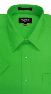 Mens classic green short sleeve dress shirt all sizes ebay for Stafford white short sleeve dress shirts