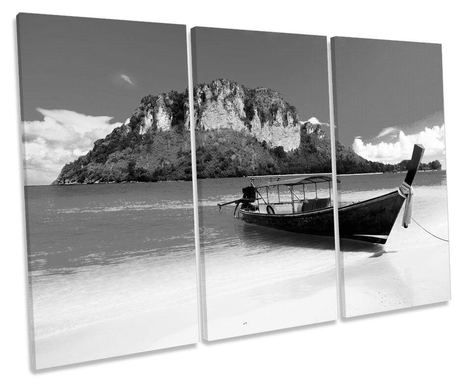 Tailandia Playa Sunset Barco LONA parojo arte arte arte agudos blancoo y Negro Foto impresión 0fcabf