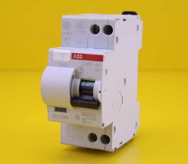 ABB DS951 C10 RCBO Circuit Breaker 2 Pole 10A 230VAC C 6kA 30mA MCB RCD