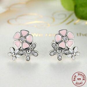 Jewelry-925-Silver-Daisy-Flower-Trendy-Women-Ear-Studs-Earrings-Fashion