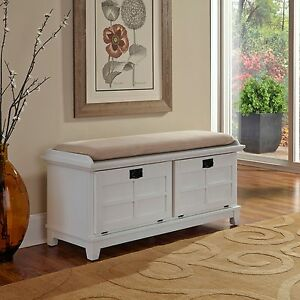 Image is loading White Wood Padded Entry Bench Storage Trunk Mudroom  Bedroom Hope