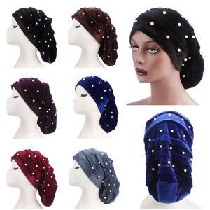 Women Chemo Baggy Hat Velvet Turban Bandana Hair Loss Bonnet Pearl Tube Caps New