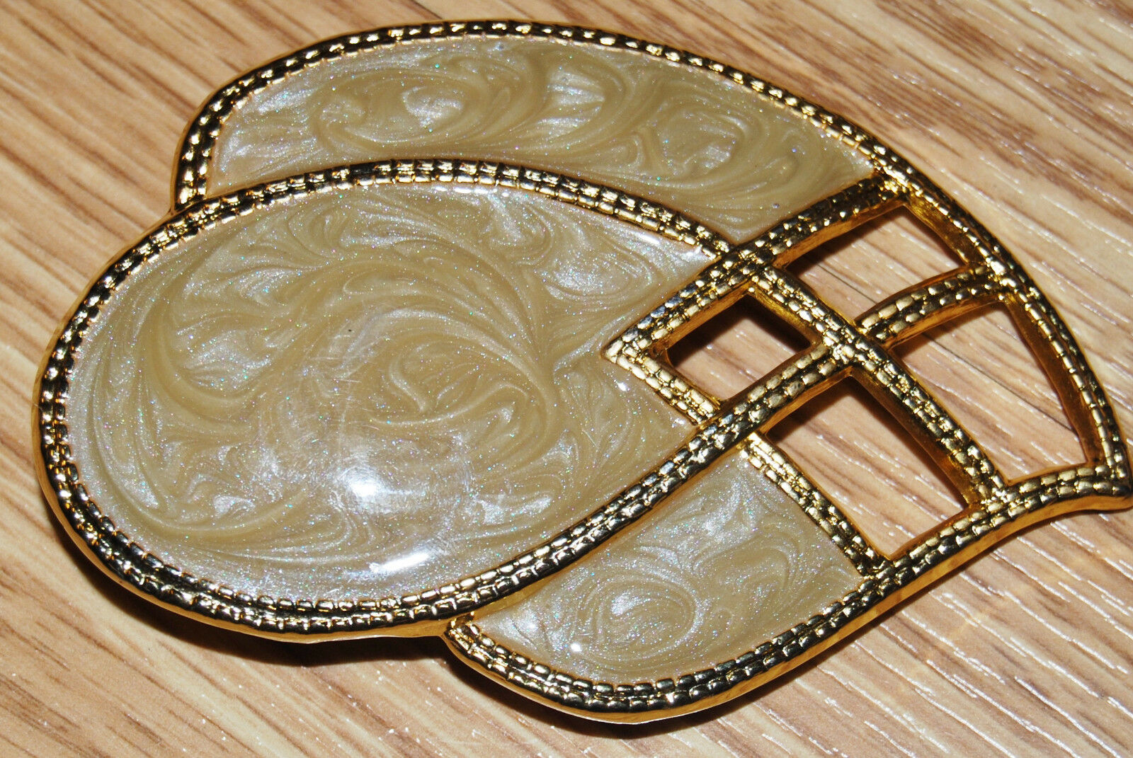 80s DAY LOR gold tone TAUPE ENAMEL Art Deco teardrop Large dress belt BUCKLE NEW
