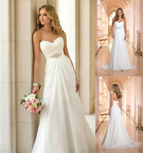White/Ivory Chiffon Beads Sweetheart A-line Wedding Gown Bridal ...