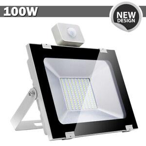 Details About 1x 100w Led Flood Light Pir Motion Sensor Cool White Outdoor Spot Garden Lamp