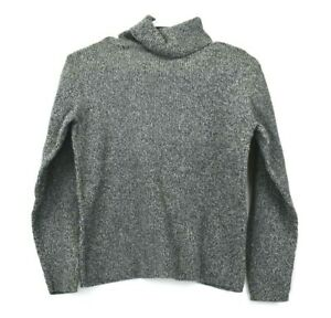 Liz-Claiborne-Women-039-s-Medium-Turtleneck-Long-Sleeve-Sweater-Cotton-Gray-White