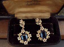 Vintage Jewellery Emerald Cut Blue, Peridot Green Crystal & Pearl Earrings