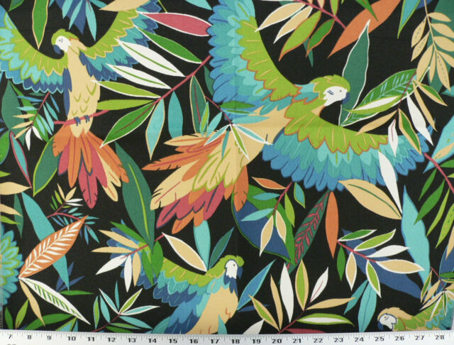 Drapery Upholstery Fabric Indoor/Outdoor Rainforest  Parrots - Black Multi
