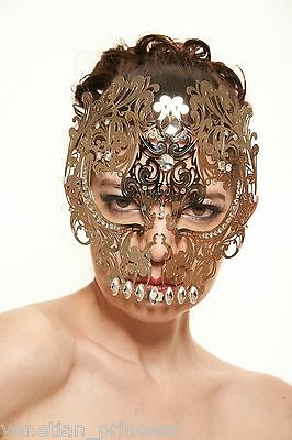 Day of The Dead Silver Skull Venetian Laser Cut Masquerade Mask w// Clear Stones