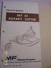 VINTAGE MASSEY FERGUSON PARTS MANUAL - MF  # 61 ROTARY CUTTER - 1977