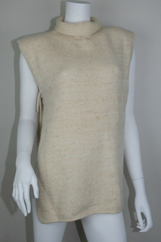 Saverio Palatella Italie Ivoire Oatmeal Cashmere open sides Poncho Sweater P XS