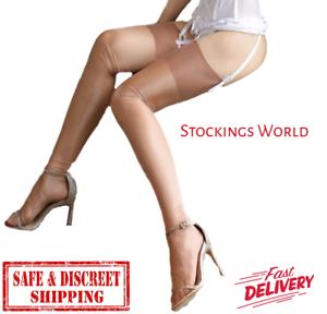 Non-Stretch-Stockings-Seamless-GLOSSY-COFFEE-10-Denier-Medium-UK