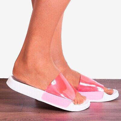 2019 Mode Fuchsia Pink Perspex White Slip Ons Slides Sliders Sandals Shoes Size 3 4 5 6 7 Ausreichende Versorgung
