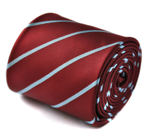 Frederick Thomas maroon and thin light blue striped tie FT1431