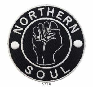 Northern Soul Bar Black And White Embroidered Patch
