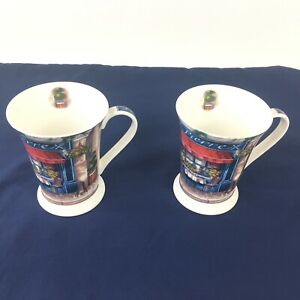 Portmeirion-Pimpernel-Cafe-de-Paris-4-5-8-034-Tall-Mugs-Set-of-2-with-coasters