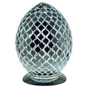 Mirrored Mosaic Tile Medium Glass Egg Lamp