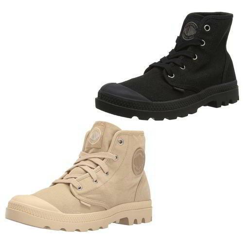 59c4fe52949 Palladium Pampa Hi Womens Ladies Black Biege Canvas Combat Ankle Boots Size  5-8
