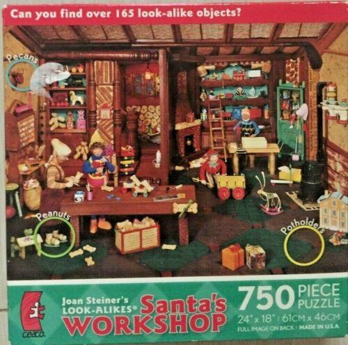 Santas Workshop Look Alikes Hidden Objects Joan Steiner 750 Piece Puzzle NEW