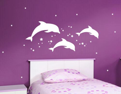 Delphine 50 estrellas habitación infantil salón delfin pared decorativa pegatinas murales