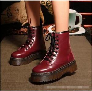 Women s Vintage Creeper Platform Lace Up Ankle Boots Knight Punk ... dc1ac29b9e9a