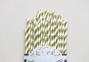 Details About 50 Gold Striped Straws Great Gatsby 50th Birthday Engagement Party Old Hollywood