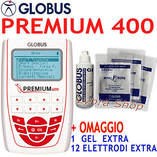 GLOBUS PREMIUM 400 elettrostimolatore 4 canali 258 prog Sport Bellezza Dren Tens